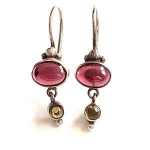 Garnet sterling silver dangle earrings 925